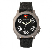Morphic M41 Series Canvas-Overlaid Leather-Band Men's Watch - Olive/Green MPH4104