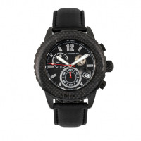 Morphic M51 Series Chronograph Leather-Band Watch w/Date - Black/Green MPH5105
