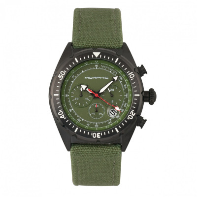 Morphic M53 Series Chronograph Fiber-Weaved Leather-Band Watch w/Date - Black MPH5305