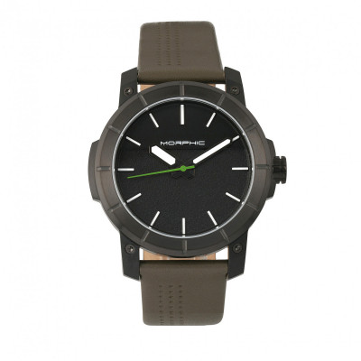 Morphic M54 Series Leather-Band Chronograph Watch - Silver/Black MPH5401