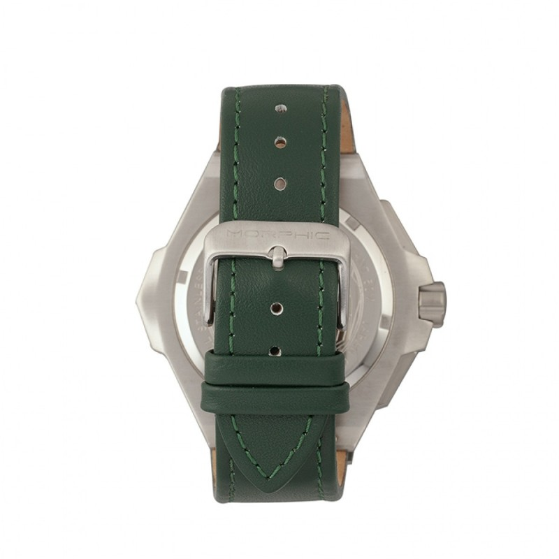 Morphic M55 Series Chronograph Leather-Band Watch w/Date - Silver/Green MPH5502