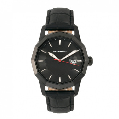 Morphic M56 Series Leather-Band Watch w/Date - Gold/Black MPH5603