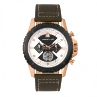 Morphic M57 Series Chronograph Leather-Band Watch - Silver/Blue MPH5702