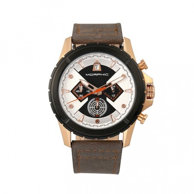 Morphic M57 Series Chronograph Leather-Band Watch - Rose Gold/Grey MPH5707