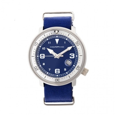 Morphic M58 Series Nato Leather-Band Watch w/ Date - Silver/Blue MPH5802