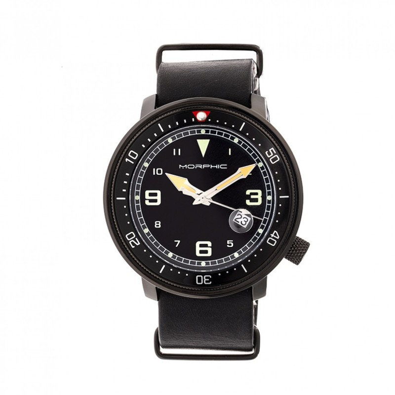 Morphic M58 Series Nato Leather-Band Watch w/ Date - Black MPH5805
