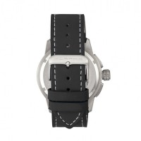 Morphic M61 Series Chronograph Leather-Band Watch w/Date - Silver/Black MPH6101
