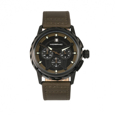 Morphic M61 Series Chronograph Leather-Band Watch w/Date - Rose Gold/Black MPH6103