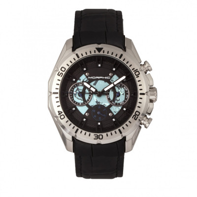 Morphic M66 Series Skeleton Dial Leather-Band Watch w/ Day/Date - Silver/Blue MPH6603